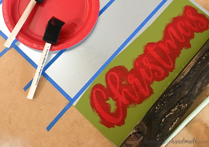 foam brushes and Christmas stencil painted red.