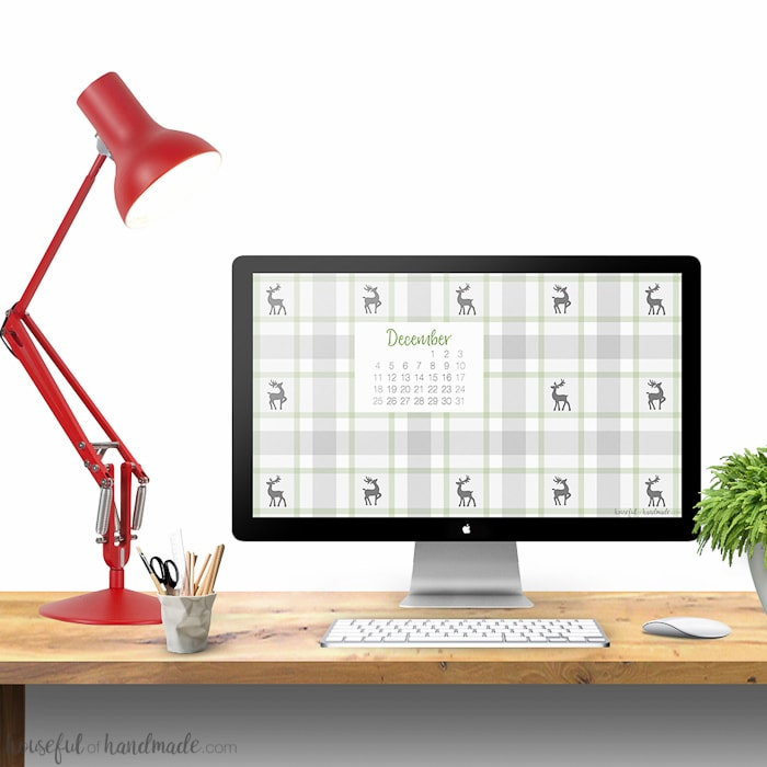 I love the little reindeer in this plaid! Get your computer and phone in the Christmas spirit with these free digital backgrounds for December. Your favorite cozy flannel will warm up your electronics, while the calendar can hopefully keep you organized. Download yours today. | Housefulofhandmade.com