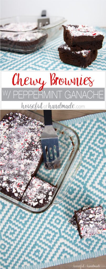 These are the perfect brownies for Christmas! You are going to fall in love with these easy to make Chewy Brownies with Peppermint Ganache. These fudge brownies make the best treats for the season. | Recipe at Housefulofhandmade.com