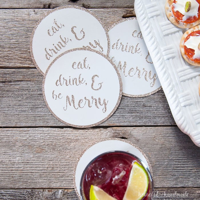 Save your table tops during your next party by making a bunch of paper coasters to sprinkle around the house. These DIY drink coasters are super quick and easy to make so you will be ready to party in no time! Also, 25+ other fun cocktail party ideas for you to get party ready. | Housefulofhandmade.com