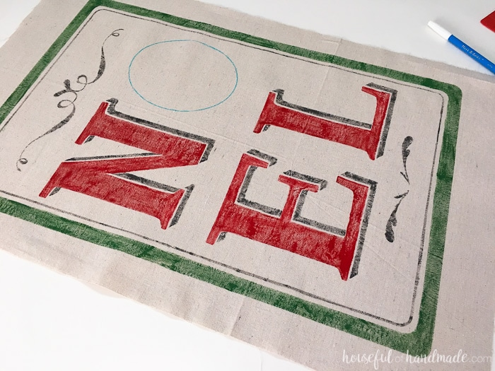 vintage scroll dropcloth with red letters