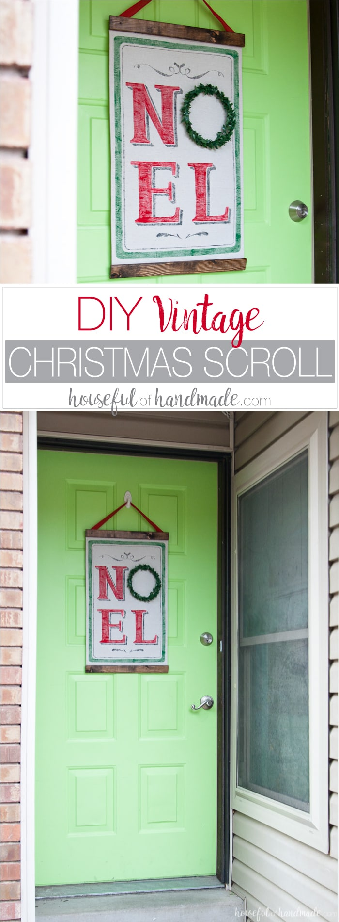 Love the look of vintage Christmas decor but don't have the budget for it? You can make this DIY vintage Christmas scroll with a few feet of drop cloth and some paint. Use a Silhouette Cameo to make a vinyl stencil for perfectly painted lines. It's the perfect not-so-vintage Christmas decor. | Housefulofhandmade.com