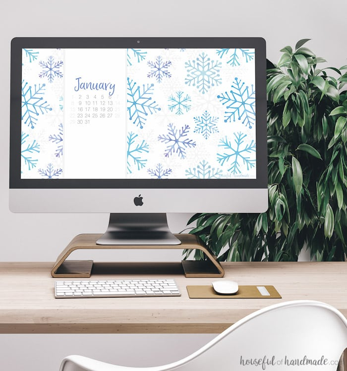 Celebrate the New Year with these watercolor snowflakes on your phone and computer! Download these free digital backgrounds for January today. Includes backgrounds with or without a calendar to help you stay focused in the new year. | Housefulofhandmade.com