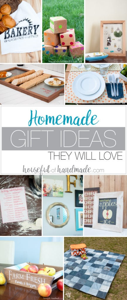 I love giving homemade gifts. Here is a wonderful list of DIY & homemade gift ideas they will love to receive! A lot of these ideas can even be made in just a couple hours. The perfect gift for the Christmas season or anytime. | Housefulofhandmade.com