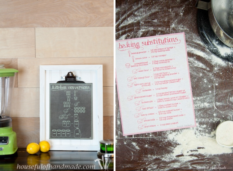 The perfect kitchen companions! These matching free printable kitchen conversions chart and baking substitutions charts are perfect for every kitchen. They also make great gifts for the wanna-be-chef in your life. | Housefulofhandmade.com