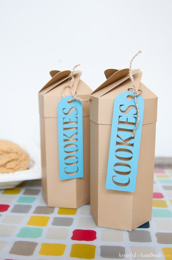 two printable cookie boxes on a table