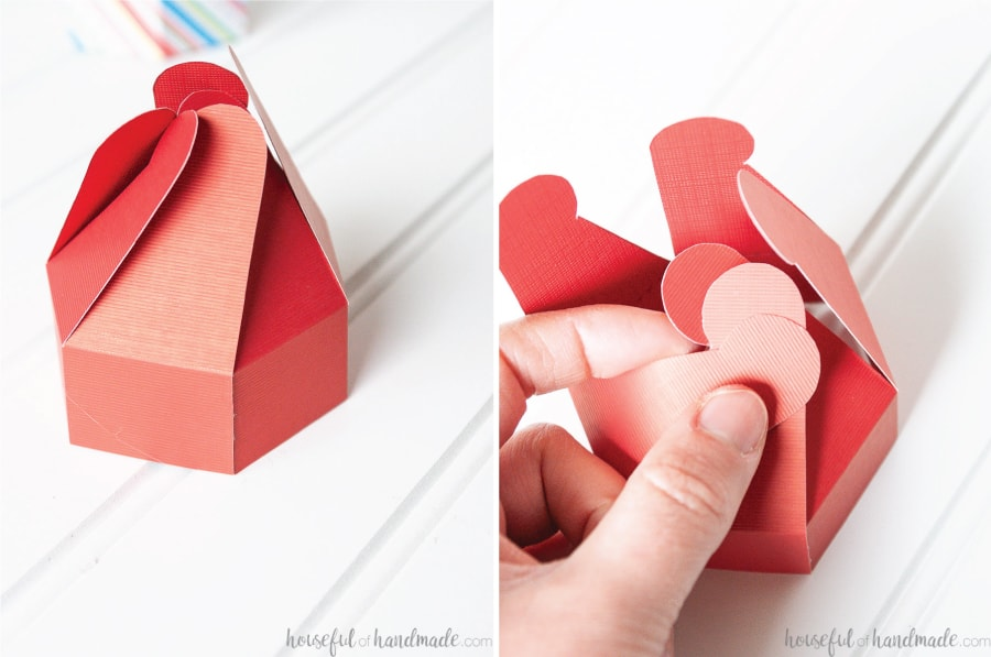 Two pictures showing the lid of the cookie box being glued together and three of the interlocking tabs being put together.