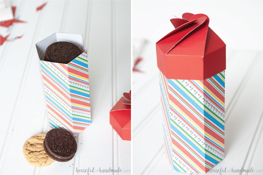 One picture showing the assembled cookie box with cookies in it and the next with the lid on top.