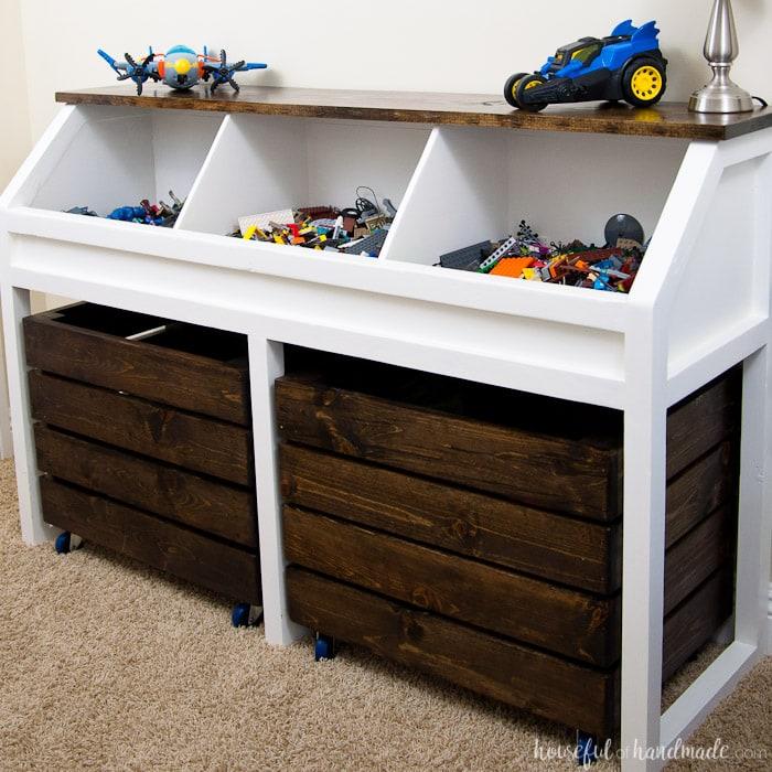 Rustic toy storage unit build plans a houseful of handmade for Storage unit building plans