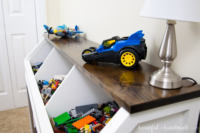 the top of the rustic toy storage
