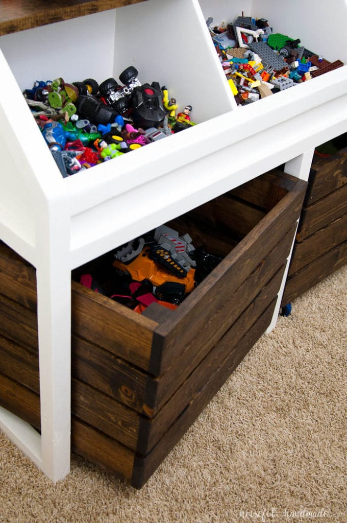 I love this grown-up take on a toy box! Create a console table & Rustic Toy Storage Unit Build Plans - a Houseful of Handmade