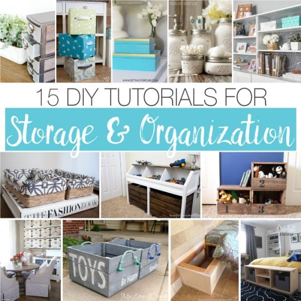 Get organized this year and save lots of money with these 15 DIY storage and organization tutorials. Everything from bins to boxes, furniture with loads of storage and places for all those toys! | Housefulofhandmade.com