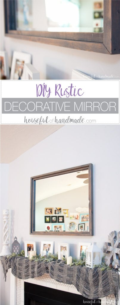 Large decorative mirrors are so expensive but make such an impact on your home decor. See how easy it is to make a DIY rustic mirror from just a few boards and an inexpensive mirror. I actually made it completely out of wood scraps.   Housefulofhandmade.com