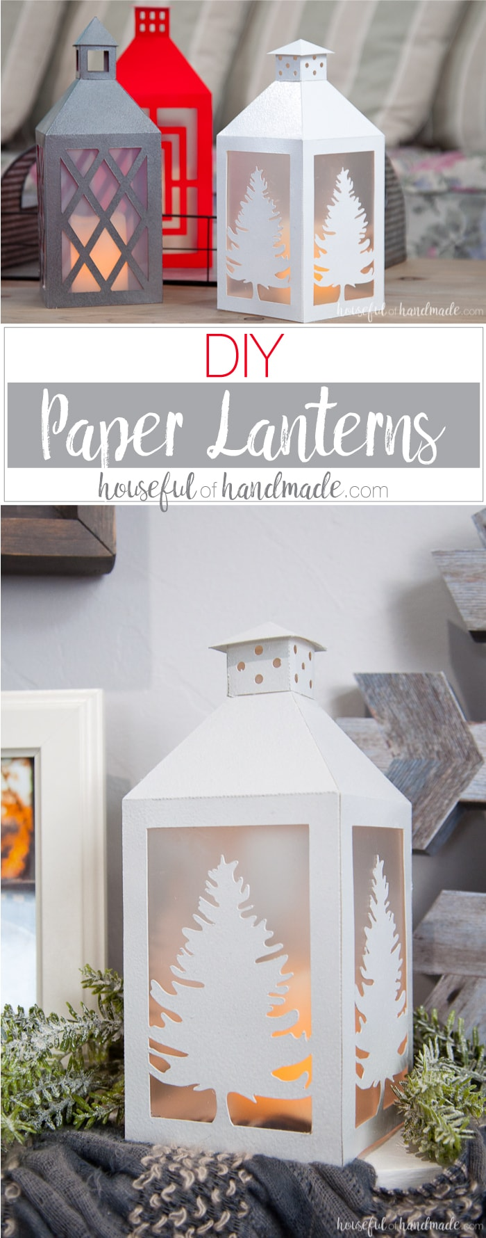 Make beautiful paper lanterns with these digital cut files. These paper lanterns decor are easy to make and no one will guess you made them out of paper! How to Make DIY Paper Lanterns Decor | Housefulofhandmade.com | #Papercrafts #Silhouette #cricut #DIYDecor #Budgetdecor