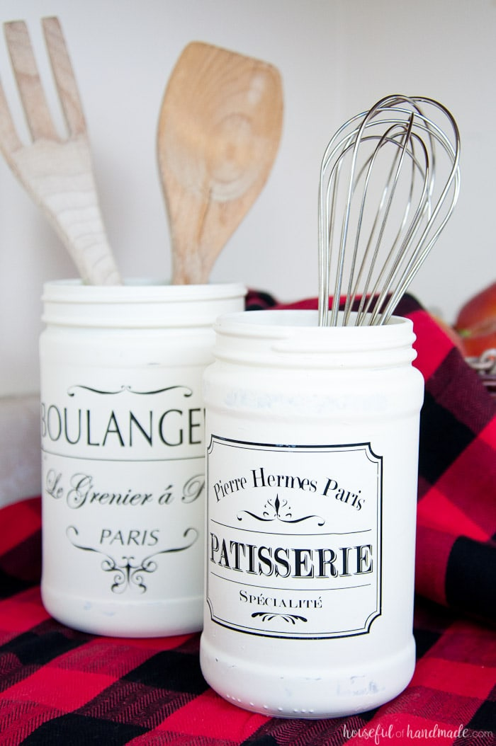 Ways to Upcycle Glass Jars & Bottles: Turn old jars into Farmhouse Kitchen Canister from Houseful of Handmade.