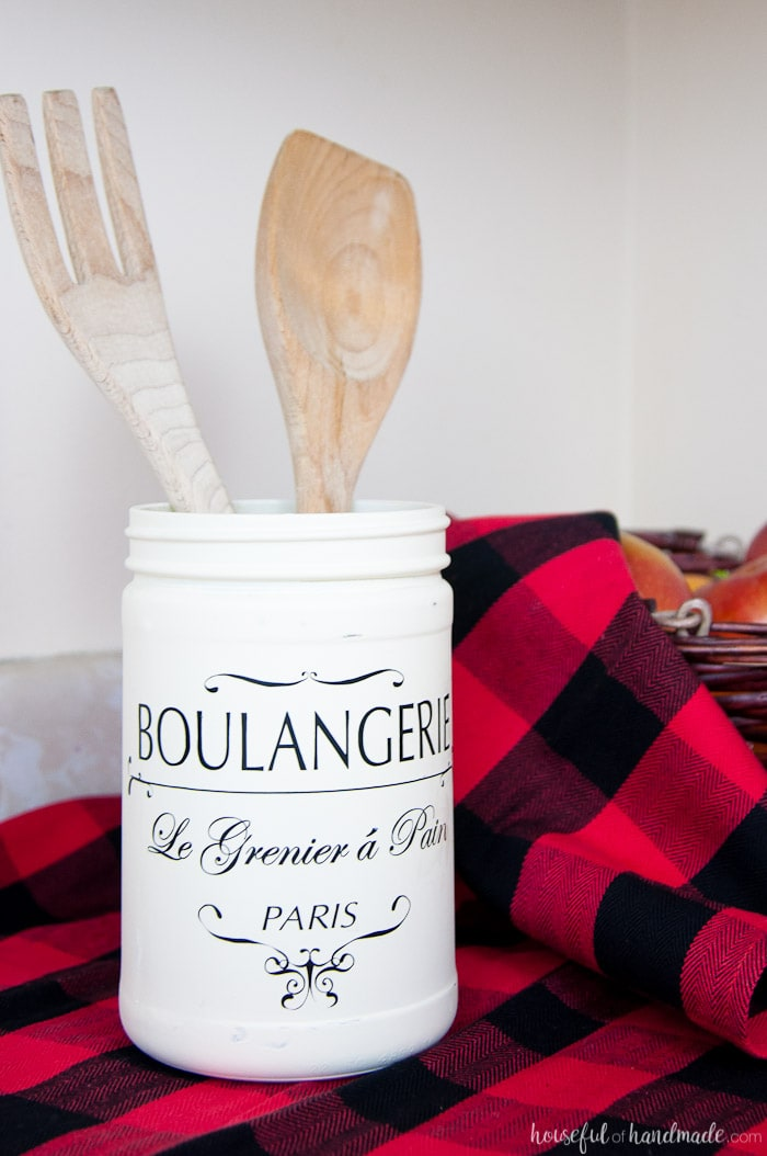 This Farmhouse Kitchen Canister is the perfect way to add some vintage charm to your kitchen without spending a lot of money. Upcycle old food jars into beautiful french bakery kitchen canisters. Housefulofhandmade.com