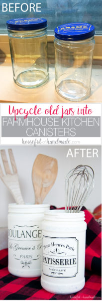 Upcycle old jars into beautiful Farmhouse Kitchen Canister DIYs with your Silhouette Cameo. These vintage inspired french bakery canisters are perfect for bringing lots of fixer upper charm to your kitchen.   Housefulofhandmade.com