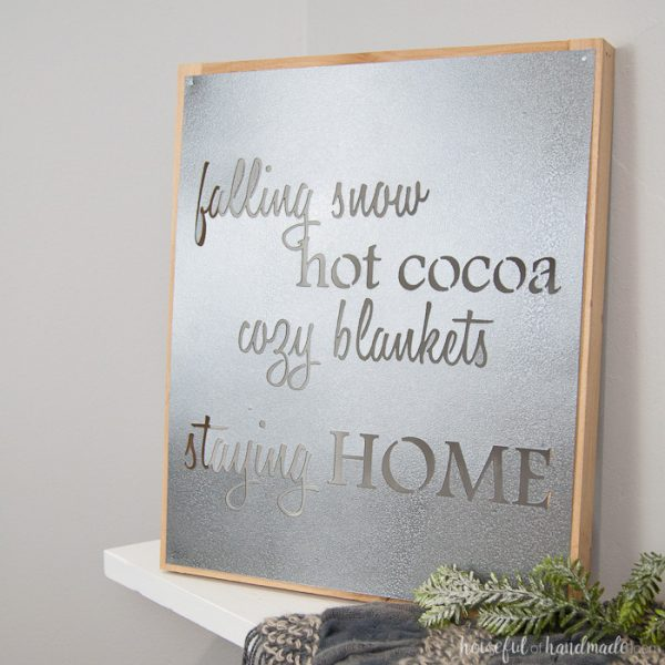 How to Make a Faux Metal Farmhouse Sign inspired by the metal Fixer Upper signs. Housefulofhandmade.com   DIY Metal Sign   DIY Farmhouse Sign   Winter Sign   Winter Mantle   Mantle Decor   Farmhouse Decor   Rustic Decor   Rustic Metal Sign   Stencil Sign   Free Cut File   Silhouette Cameo
