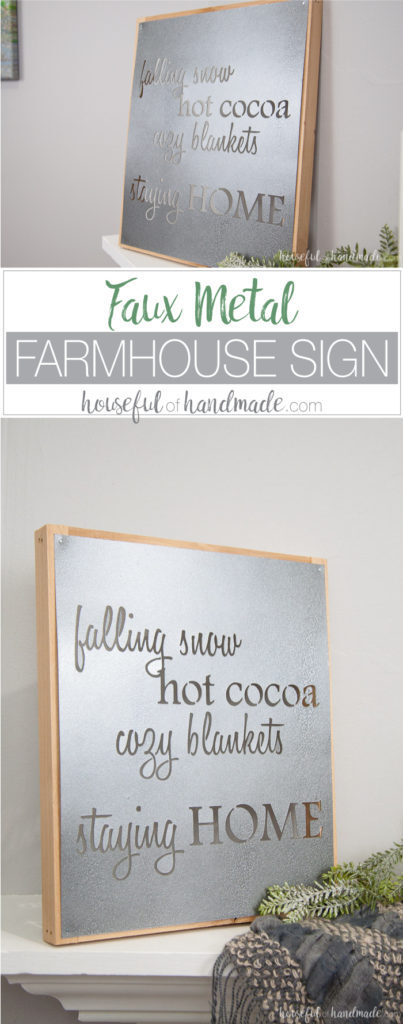 How to Make a Faux Metal Farmhouse Sign inspired by the metal Fixer Upper signs. Housefulofhandmade.com | DIY Metal Sign | DIY Farmhouse Sign | Winter Sign | Winter Mantle | Mantle Decor | Farmhouse Decor | Rustic Decor | Rustic Metal Sign | Stencil Sign | Free Cut File | Silhouette Cameo