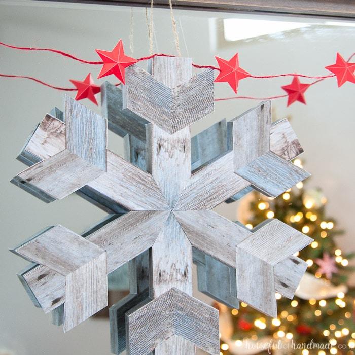 Faux Wooden Snowflake Decor