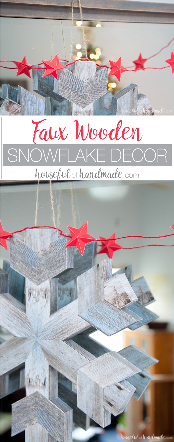 If you don't like power tools you can still get these perfect wood snowflakes for your winter decor. This easy faux wooden snowflake decor is made out of paper but looks just like real wood. Make a bunch to decorate your Christmas tree or winter mantle. | Housefulofhandmade.com