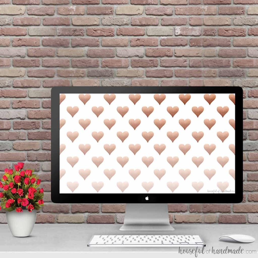 Free Digital Backgrounds for February with or without a digital calendar to keep you organized. || Gold Heart Print || Free Download || Digital Wallpaper || iPhone Wallpaper || Ombre Hearts Print || Housefulofhandmade.com