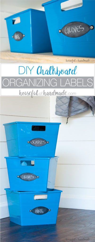 Make these easy DIY chalkboard organizing labels in just minutes. Housefulofhandmade.com || Organization Hacks | Organizing ideas | Chalkboard labels | Storage Bins | Dollar Store Bins | Storage Ideas | DIY Labels | Spellbinders | Die Cutting | Paper crafts