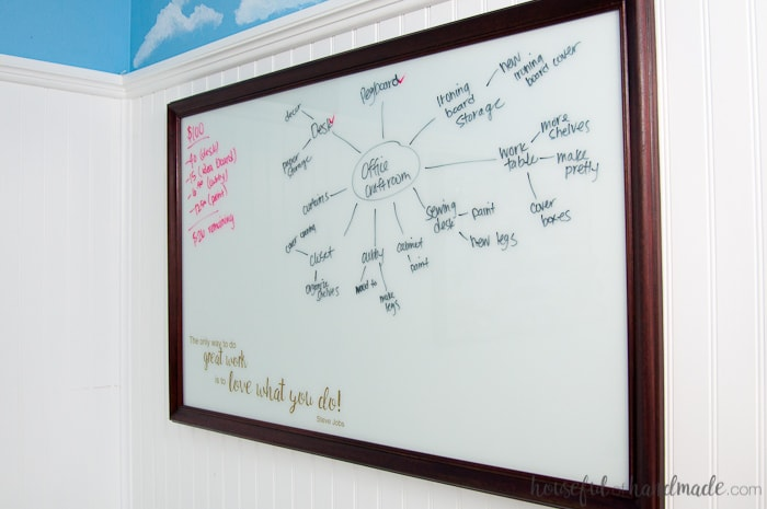 Turn an old thrift store picture into a DIY idea board for your office. The perfect place to sketch out all your creative thoughts. | Housefulofhandmade.com | Custom Whiteboard | Upcycled Picture Frame | Things to do with Picture Frames | Transform Thift Store Picture Frame | Office Organization | Office Productivity Ideas | Budget Makeover | $100 Room Challenge
