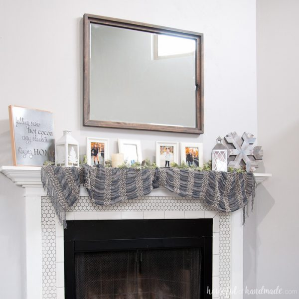 Create the perfect warm and cozy winter mantle. Includes lots of DIY home decor tutorials.   Winter Mantle   Mantle Decor   Neutral Mantle Decor   DIY Mantle Decor   Farmhouse Decor   Farmhouse Fireplace   Rustic Mantle   housefulofhandmade.com