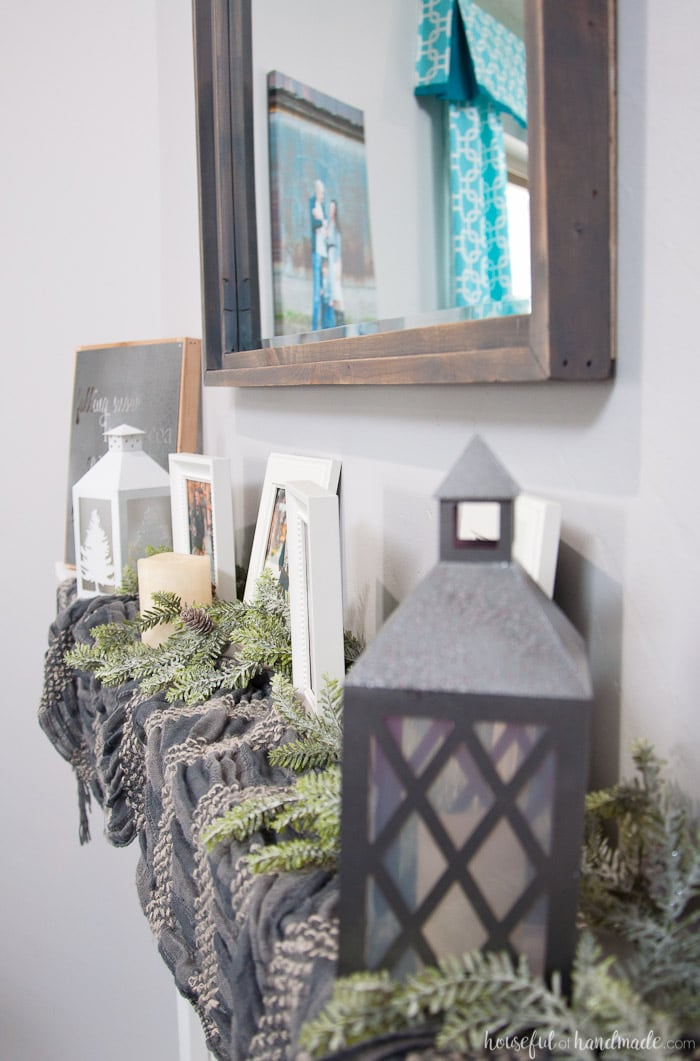 Create the perfect warm and cozy winter mantle. Includes lots of DIY home decor tutorials. | Winter Mantle | Mantle Decor | Neutral Mantle Decor | DIY Mantle Decor | Farmhouse Decor | Farmhouse Fireplace | Rustic Mantle | housefulofhandmade.com
