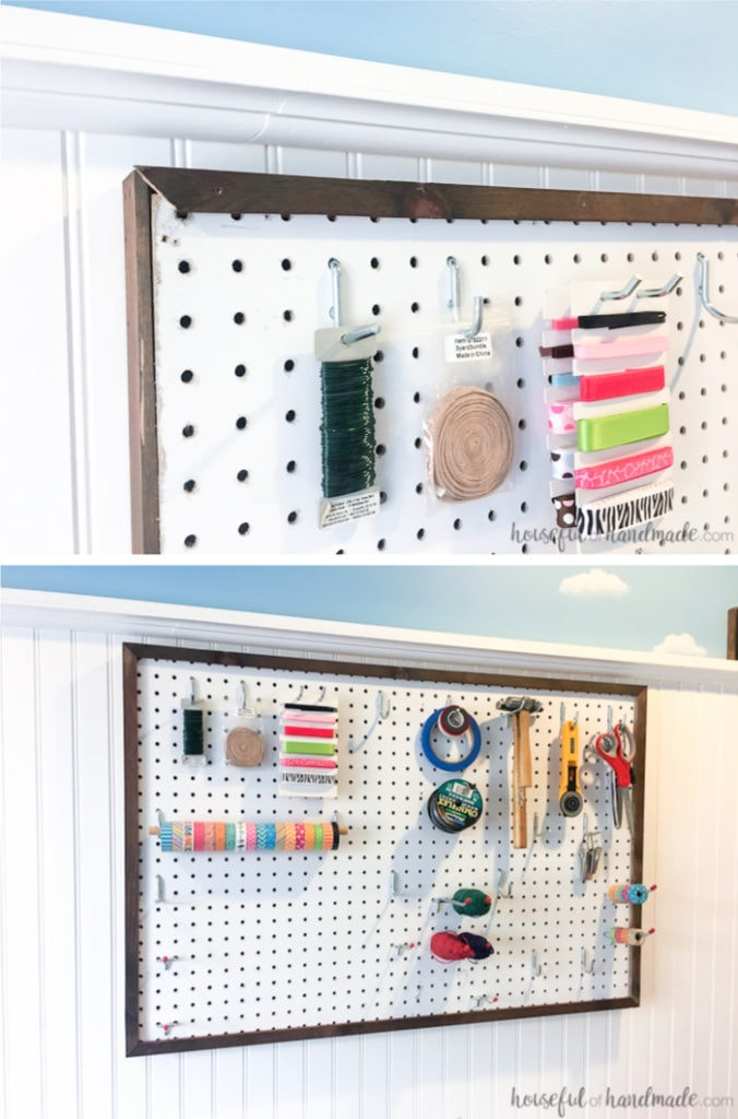 Create the perfect place to organize your most used supplies! Learn how to hang pegboard so it is removable if needed. Housefulofhandmade.com | Craft organization ideas | Craft room remodel | Pegboard organization | $100 Room Challenge | Easy woodworking | Easy building plans | Free Building plans