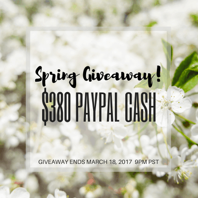 Spring Giveaway – Enter to win $380 in PayPal Cash