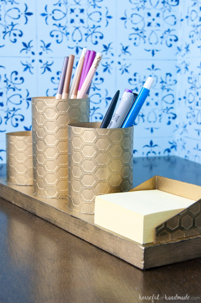 DIY Desk Organizer with Painted Brass - a Houseful of Handmade