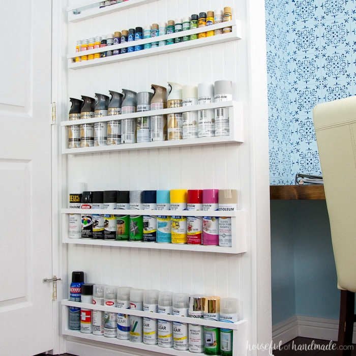 Use these amazing DIYs to Organize your home this year. Create the perfect DIY paint storage from scraps or cheap wood. The paint storage shelves can even be hung in closets or behind doors to free up even more space. Housefulofhandamde.com | $100 Room Challenge | Spray Paint Storage | Craft Paint Storage | Craft Room Organization | Scrap Wood Build Plans | Free Build Plans | DIY Storage Solutions | Craft Room Makeover | Office Makeover