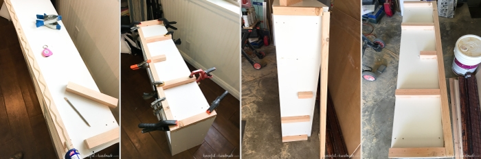 stages of progress on converting a standard cube bookcase into a farmhouse bookcase