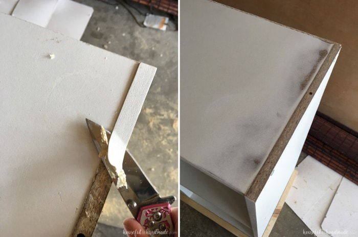 scraping off edge banding for the diy cube bookcase