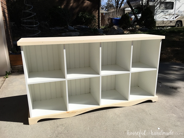 farmhouse bookcase waiting for final finish to be applied.