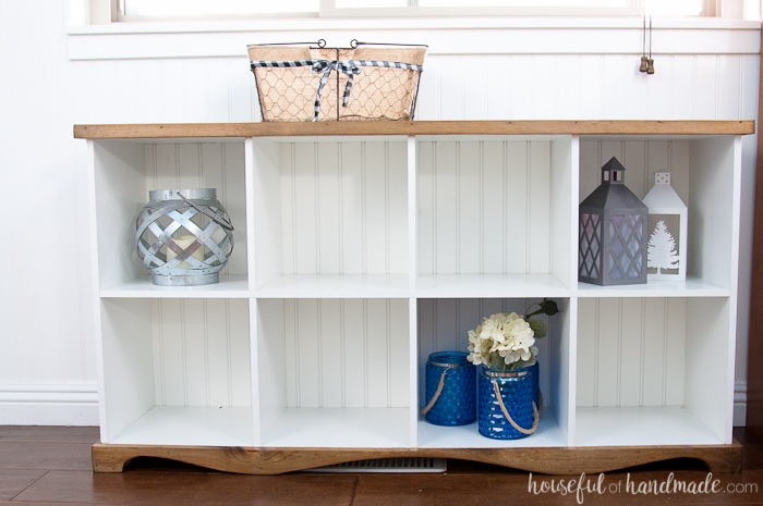 Dont Throw Out Those Old Melamine Bookcases Create A Beautiful Farmhouse Console Table