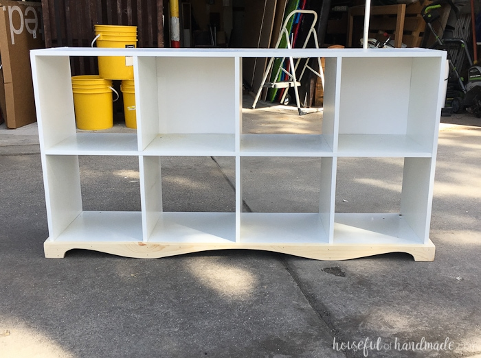The bottom trim piece completed on the cubicle bookcase