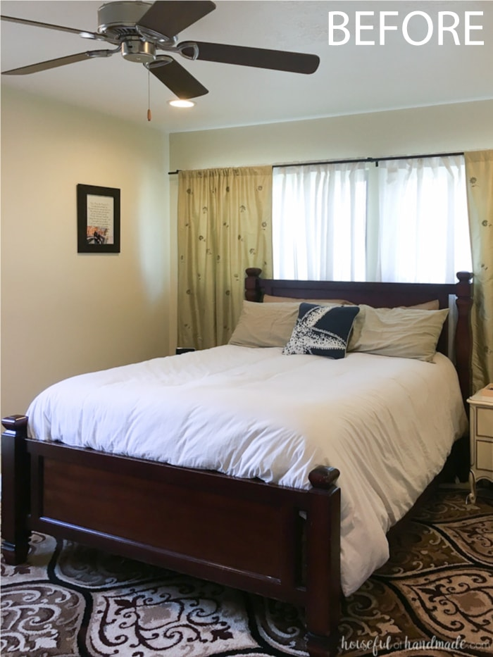You have to see the how these easy summer bedroom decorating ideas turned this dark room into a bright summer bedroom. Housefulofhandmade.com
