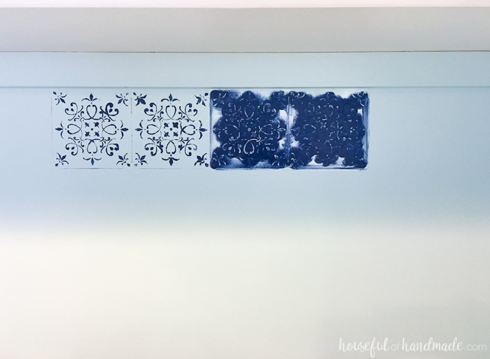 Add a DIY wall stencil to make a huge impact on a budget. See how to transform a room for only $100 with this office & craft room makeover. | Housefulofhandmade.com
