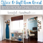 I love this chic farmhouse style office & craft room reveal! The entire room was redone for only $100 in 1 month. Lots of creative projects, including upcycling cheap furniture into beautiful pieces with character. See the full reveal at Housefulofhandmade.com | $100 Room Challenge | Office Makeover | Craft Room Makeover | Sewing Room Ideas | Farmhouse Decor | DIY Home Decor | Craft Room Organization | Patterned Wall | Closet Desk