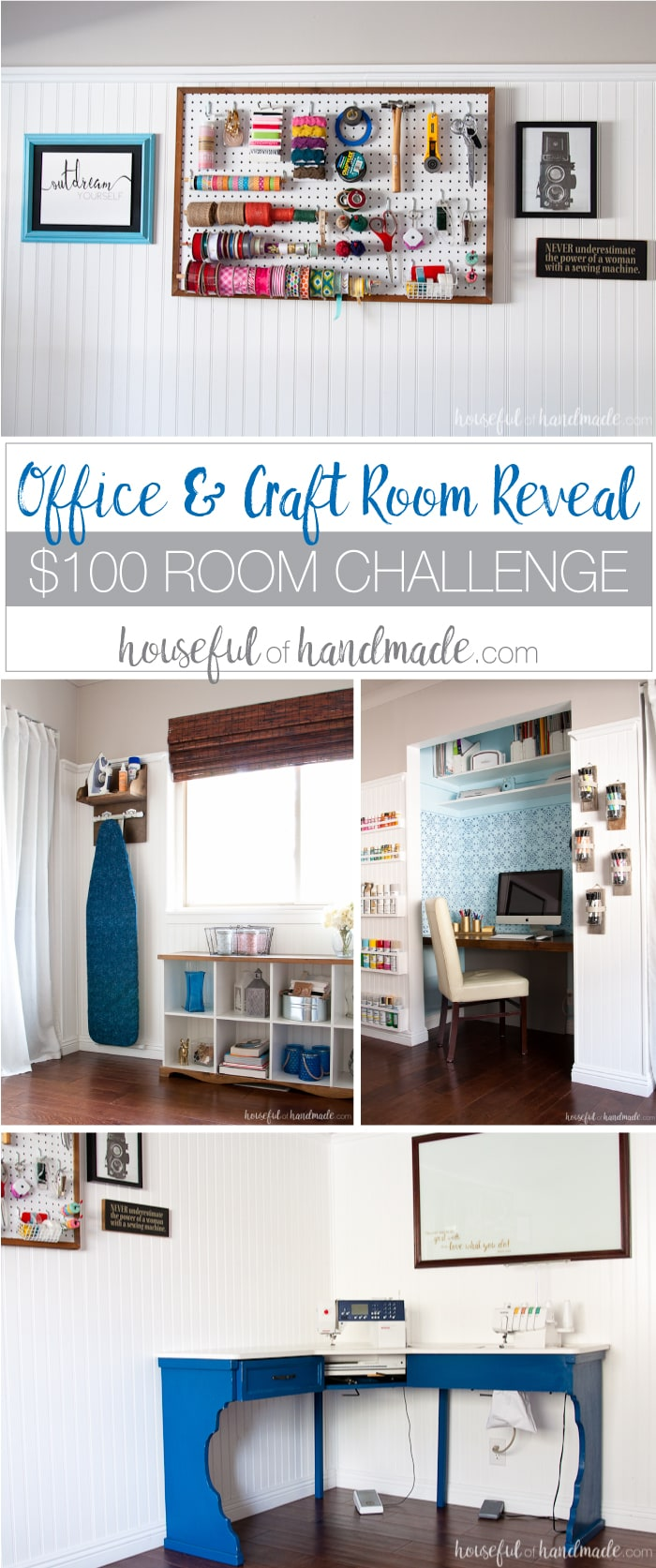 I love this chic farmhouse style office & craft room reveal! The entire room was redone for only $100 in 1 month. Lots of creative projects, including upcycling cheap furniture into beautiful pieces with character. See the full reveal at Housefulofhandmade.com | $100 Room Challenge #office #craftroom #sewingroom #farmhouse #diy #budgetremodel