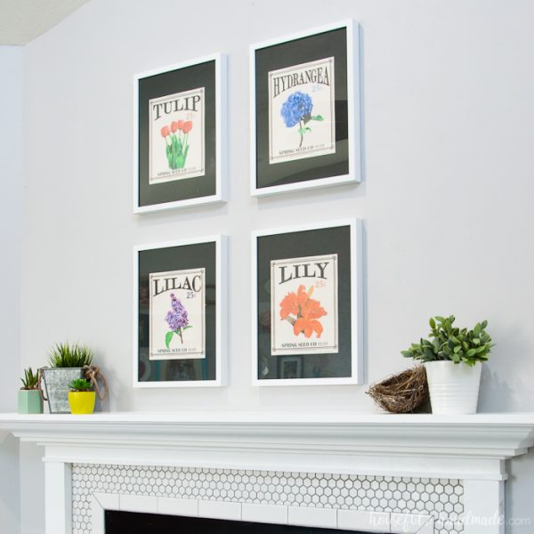 Create the perfect Spring Mantel with flowers and greenery. It's so easy to achieve this statement mantel with free printables and a some faux plants. Housefulofhandmade.com   Spring Mantel   Free Printable   Vintage Seed Packets   Flower Themed Mantel   Spring Mantel Ideas   Easy Mantel