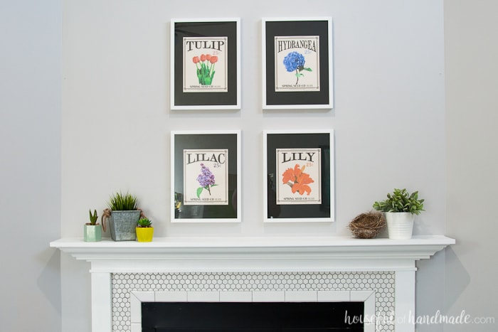 Create the perfect Spring Mantel with flowers and greenery. It's so easy to achieve this statement mantel with free printables and a some faux plants. Housefulofhandmade.com | Spring Mantel | Free Printable | Vintage Seed Packets | Flower Themed Mantel | Spring Mantel Ideas | Easy Mantel