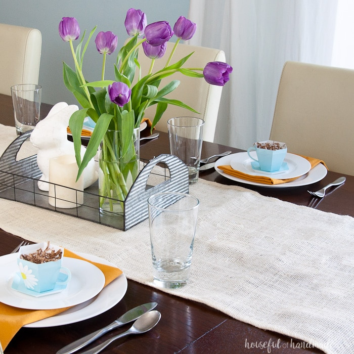 Decorate your home for spring with lots of flowers and color. This easy Spring Tablescape features adorable floral print paper tea cups and lots of sunshine. Housefulofhandmade.com | Spring Tablescape | Easter Tablescape | Mother's Day Brunch | Paper Tea Cups | 3D Tea Cup | Easter Decor | Spring Decor | Farmhouse Decor