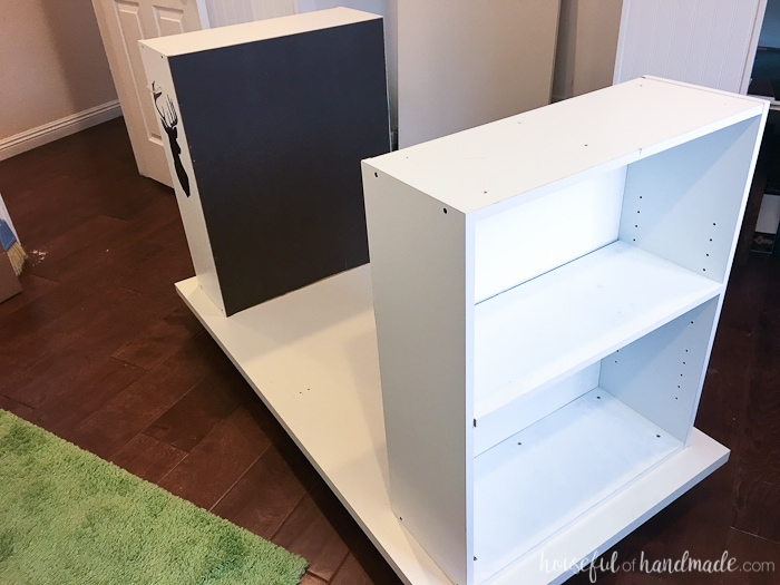 Don't throw out those old cheap bookcases from your college days, upcycle them into the perfect work station. Create this amazing upcycled bookcase rolling work table for your craft room or office. | Housefulofhandmade.com || Craft Table | Rolling Work Table | Upcycled Bookcase | Craft Room Storage | Free Build Plans