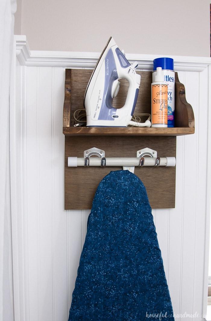 diy iron holder with ironing board storage