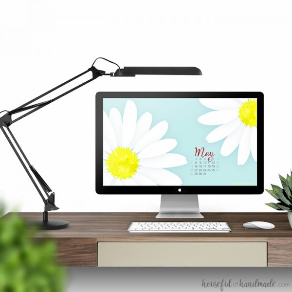 Add a little spring to your desktop and smartphone with these free digital backgrounds for May. A bright daisy print is perfect to chase away the cold weather. Includes a calendar option to help stay organized too. Housefulofhandmade.com | Digital wallpaper | Surface Pattern | Daisy Print | iPhone Background | Computer Background