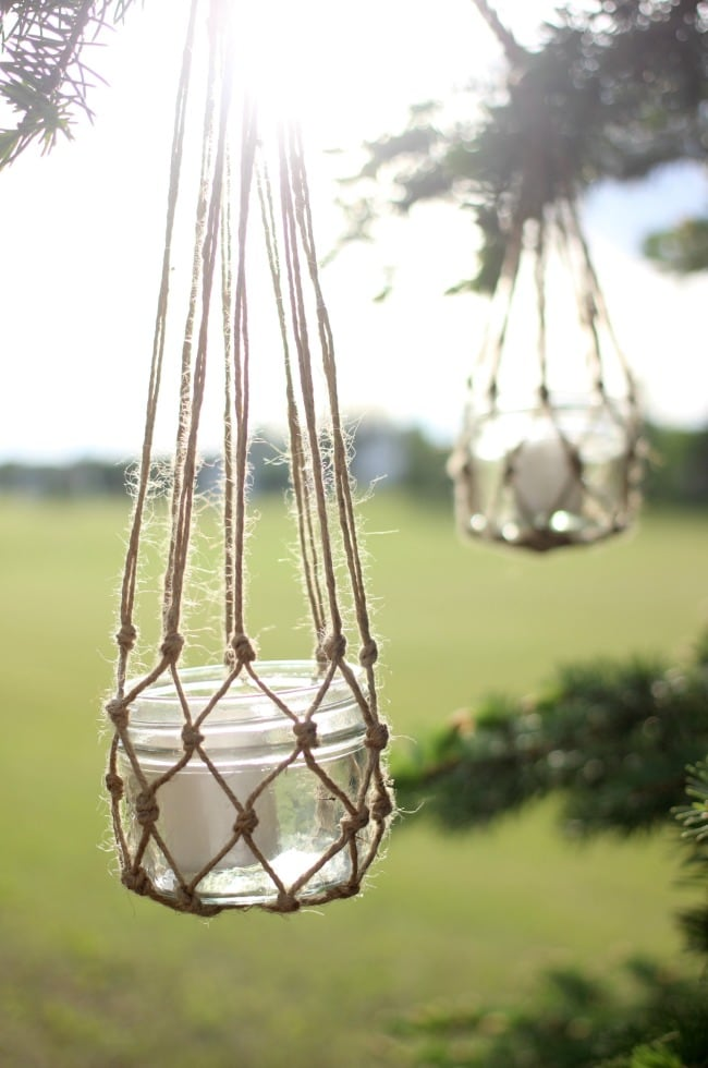 Ways to Upcycle Glass Jars & Bottles: Jute String Lantern from Love Create Celebrate.